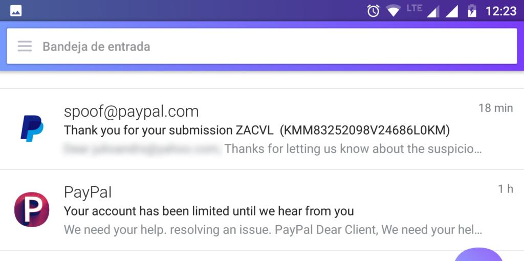 Modalidad de Phishing en correo electrónico