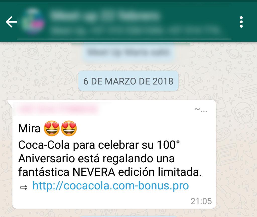 Modalidad de Phishing practicado en Whatsapp.