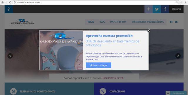 Ortodoncia de Avanzada Pop Up Promocional