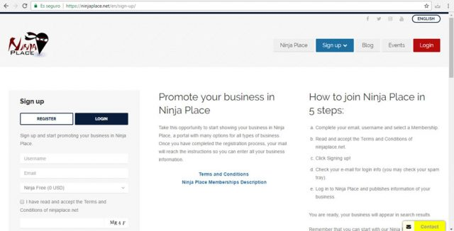Ninja Place Registro